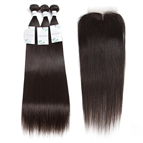 Yueruina 10A Brazilian Virgin human Hair 3 Bundles With Closure Straight deals top grade 4x4 Middle Part lace Closure (16 18 20 + 14 inch)
