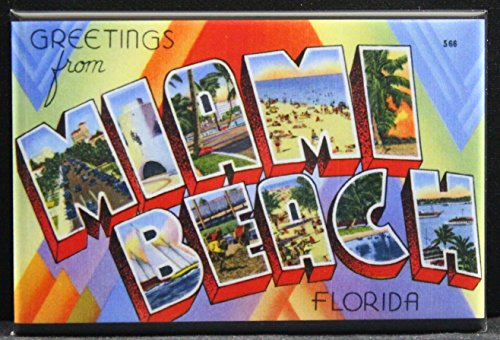 (Greetings From Miami Beach Vintage Postcard Refrigerator Magnet.)