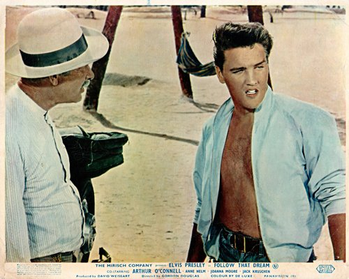 Follow That Dream original lobby card Elvis Presley bare chested beefcake pose from Silverscreen