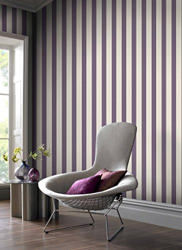Graham & Brown 20-525 1 Fabric Collection Ticking Stripe Wallpaper, Thistle