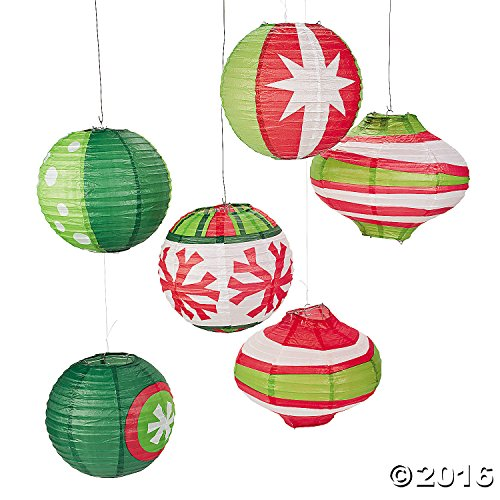 Christmas Paper Lanterns - Paper Ornament Party Lanterns-Red/Green/White-(Pack of 6)