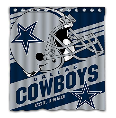 Potteroy Dallas Cowboys Team Stripe Design Shower Curtain Waterproof Mildew Proof Polyester Fabric 66x72 Inches (Dallas Cowboys Fabric)