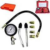 8PCs Engine Cylinder Compression Tester Kit Gauge Tool Automotive Aid Kit with Use Instructions Red Box