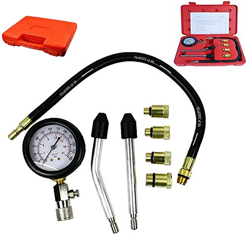 Amon Tech 8PCs Petrol Engine Cylinder Compression Tester Kit Gauge Tool Automotive Aid Kit with Use Instructions Red Box