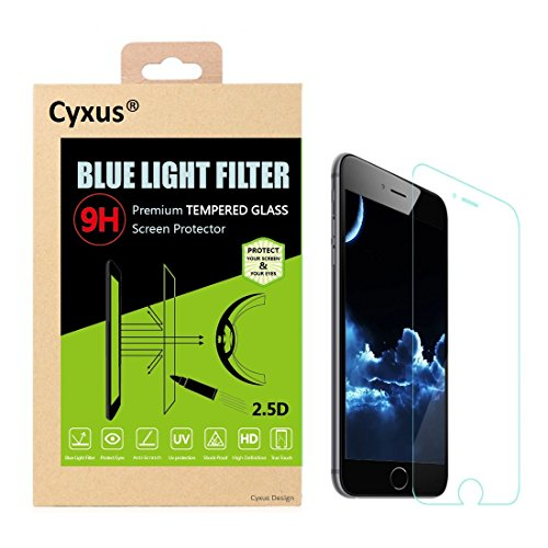 Cyxus Blue Light Filter (Sleep Better) Thinnest [0.2mm] 9H Tempered Glass HD Premium High Definition Clear Film Screen Protector for Apple iPhone 6 / 6s (iPhone6 4.7 inch ONLY) (Blue Light Filter Glas
