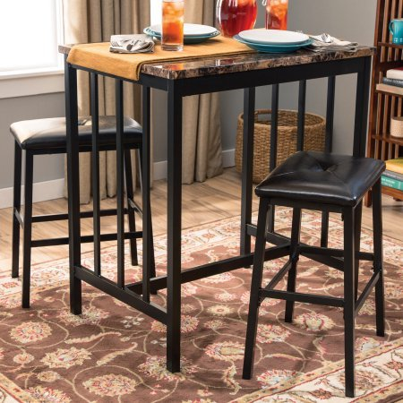 Home Source Grey Metal and Faux Marble Table Including 2 Saddle Back Stools by Home Source