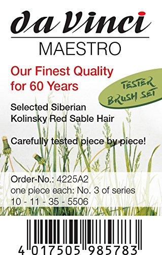 3 Brushes Round Kolinsky Red Sable with Travel Case da Vinci Travel Series 1503 Maestro Watercolor Brush Set