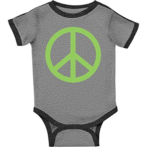 inktastic - Peace Sign Infant Creeper Newborn Ringer Heather and Smoke 57d8