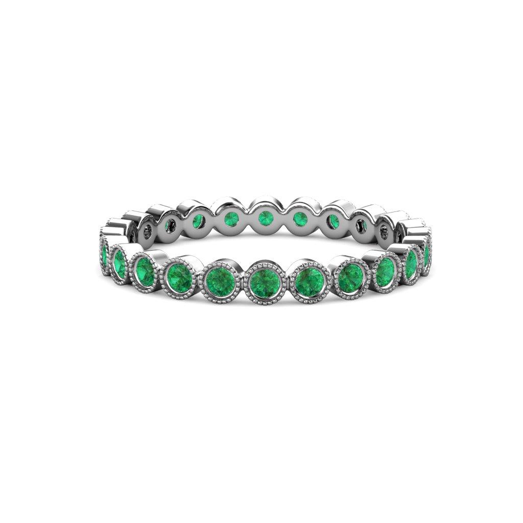 Emerald 2.4mm Bezel Set Milgrain Eternity Band 0.91 ct tw to 1.03 ct tw 14K White Gold.size 7.0