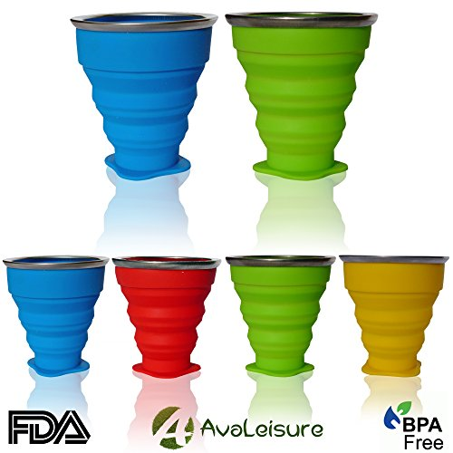 AvaLeisure COLLAPSIBLE TRAVEL CUP, Set of 2, the Genuine 10oz Drinking Mug with Lid, BPA Free Silicone, Water, Coffee, Tea and Snacks for Hiking, Camping, Picnic & All People on the Move (blue/green) (Folding Camping Bowl)