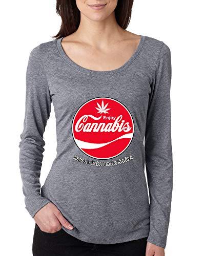 Enjoy Cannabis | Have a Toke and a Smile Funny Soda Logo Parody | Womens Streetwear Scoop Long Sleeve Top, Premium Heather, Medium