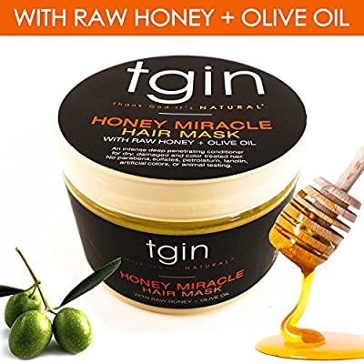 tgin Honey Miracle Hair Mask Deep Conditioner with Raw Honey & Olive Oil For Natural Hair - Dry Hair - Curly Hair, 12 oz