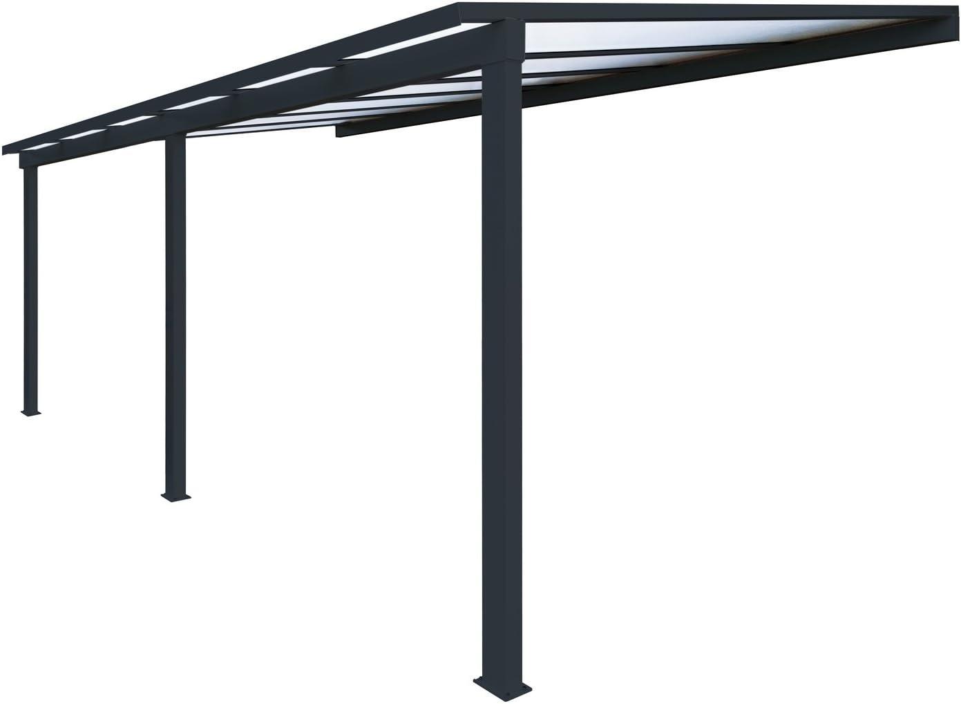 Pérgola de aluminio clásica para fijar al techo, de policarbonato (16 mm) con canaleta, color gris, color Gris ral 7016, tamaño 6000 x 3000 mm