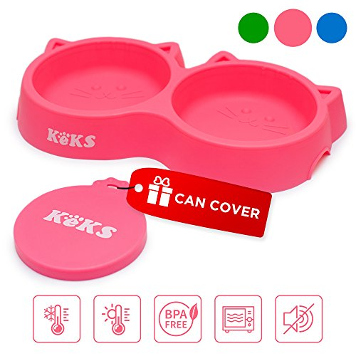 Cat Bowls - Pink Cat Food Set of Silicone Cat Feeder Stand & Pets
