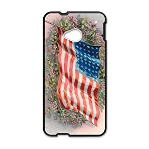 Fashion Lovely Butterfly Design The American Flag Into The Sky Htc One M7 Case Cover Shell(Laser Technology)