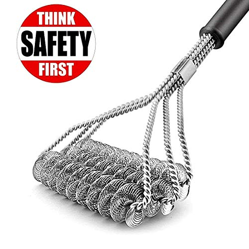 HaRuion Grill Brush, Bristle Free Grill Brush,3-Helix Bristle Free Clean Brush,Food Grade Stainless Steel 316 Barbecue Brush Fits Porcelain,Propane,Electric,Infrared,Iron and Weber Grill Grates,BBQ