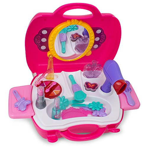 Little Girls Make Up Case And Cosmetic Set – Pretend Play Kids Beauty Salon