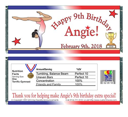 Dinner Balance (Gymnastics Birthday Party Favors, Personalized Wrappers for Chocolate Bars (set of 12)(W101))
