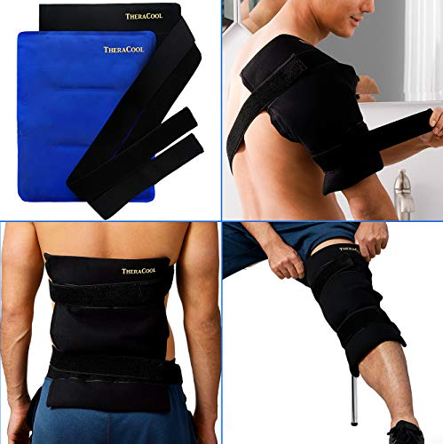 Ice Packs for Injuries Reusable Large Hot Cold Gel Pad Wrap w/Strap for Back Knee Shoulder Rotator Cuff Hip Replacement Elbow Arthritis Surgery Pain Relief Flexible Recovery Bag 14 x 11 by TheraCool (Kold Hot Gel Reusable)