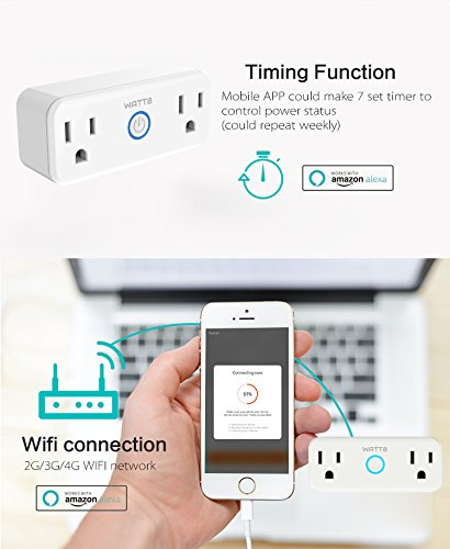 WATT8 Mini Wi-Fi Smart Plug, Dual Outlet, Works with Amazon Alexa and Google Assistant, No Hub Required, Control Your Appliances by Smart Phone and voice With Timing Function From Anywhere by WATT8 (Image #8)