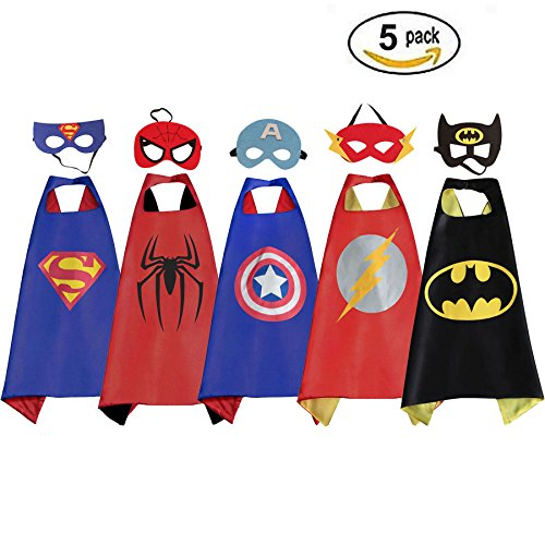 RioRand Comics Cartoon Dress Up Costumes 5 Satin Capes with Felt (Kids Costumes)