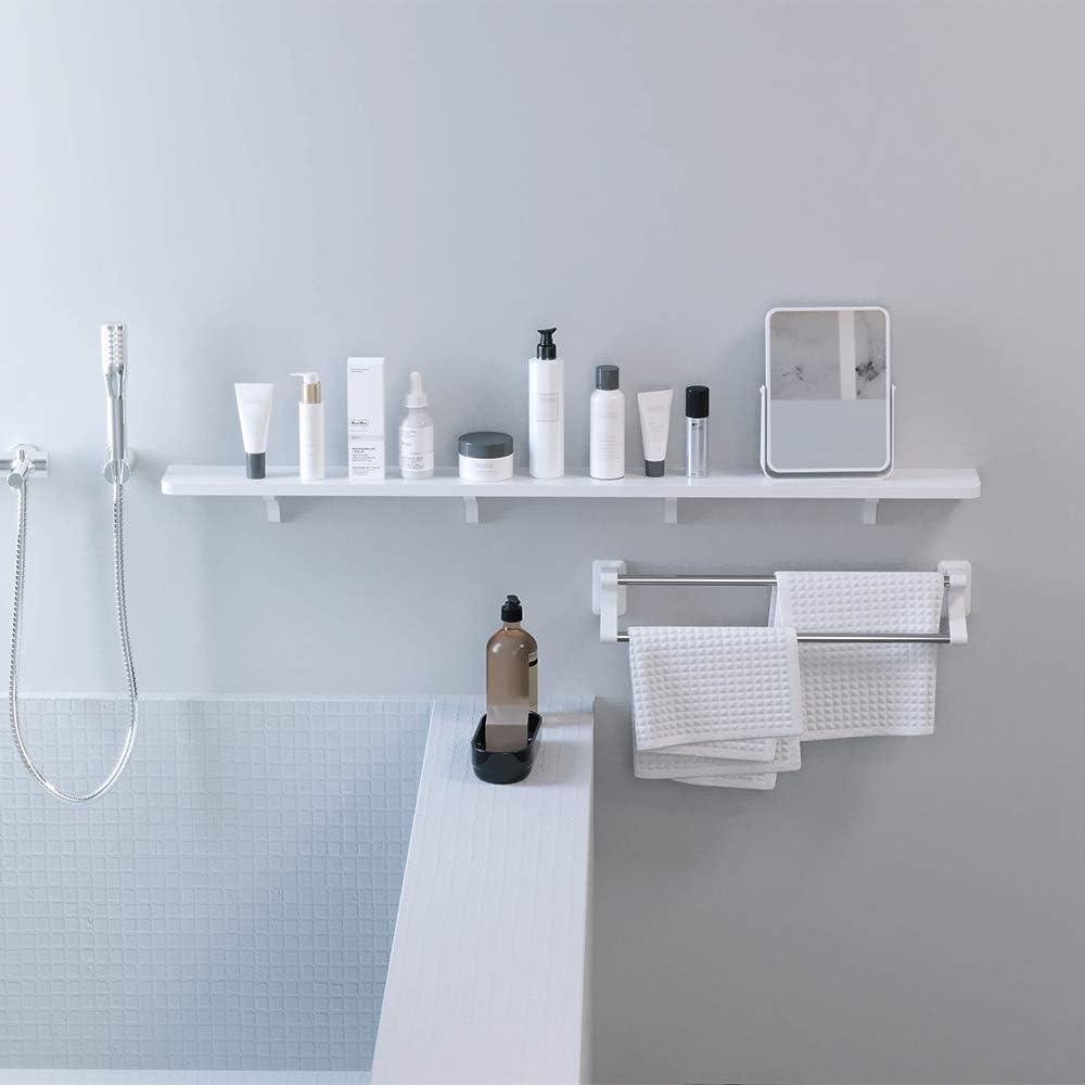KUNGYO Weißer Kunststoff schwebendes wandregal - Absaugung Badezimmer Regal  Küche Wand Bücherregal Wandhalterung Dusche Caddy (Groß)