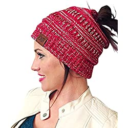 EKB Messy Bun Beanie, New Bun Beanie, Crochet Messy Bun Beanie, Ponytail Beanie Hat (Red)