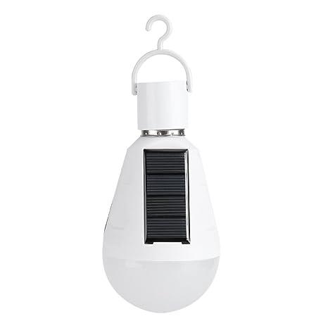 7W bombilla solar LED portátil 400 lm 1200 mah panel solar de emergencia recargable bombilla para interior al aire libre iluminación tienda campaña ...