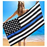 Auwer Independence Day Flag Printed Beach Throw Beach Cover Up Swimwear Tapestry Wall Art Hanging Pool Home Shower Towel Blanket Tablecloth Roundie Yoga Mat Picnic Mat Bedspread Collage Dorm (Blue)