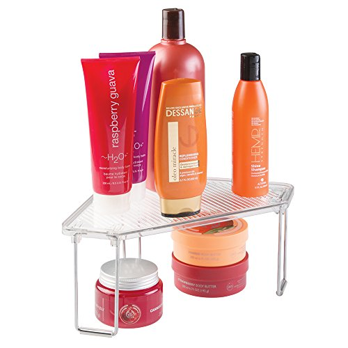 mDesign Bathroom Vanity Corner Storage Shelf for Shampoo, Cosmetics, Beauty Products - Clear