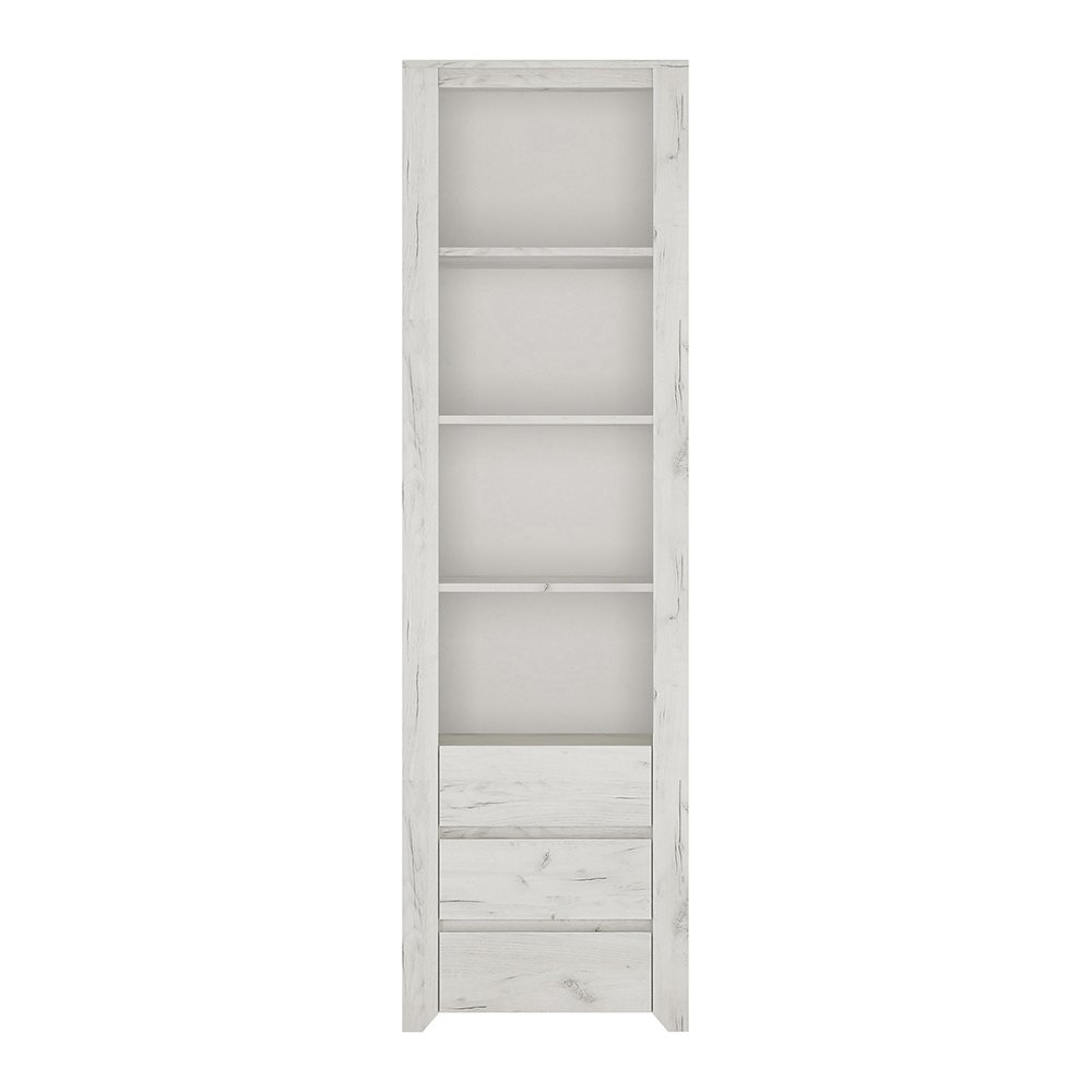 Furniture To Go Angel Tall Narrow 3 Drawer Bookcase, Wood, White Oak Wojcik 4211162