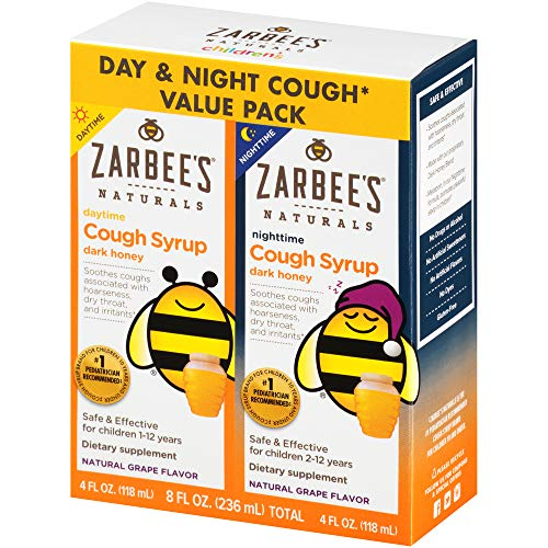 Zarbee's Naturals Children's Cough Syrup with Dark Honey Daytime & Nighttime, Natural Grape Flavor, 4 oz Bottles (Value Pack of 2) (Best Cough Medicine For Baby 2 Year Old)