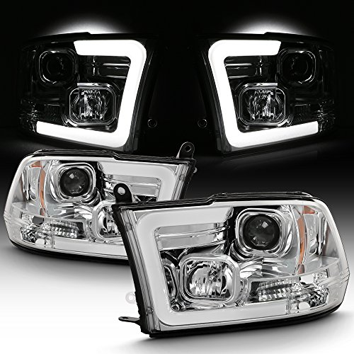 For 2009-2018 Dodge RAM 1500 2500 3500 LED Daytime Running Light Bar Projector Headlights Chrome Housing Clear Lens Set