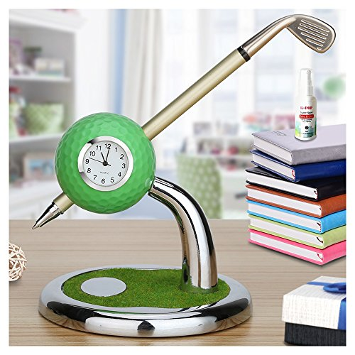 Mini Desktop Golf Ball Pen Stand with Golf Pens and Clock 2-piece Set of Golf Souvenir Tour Souvenir Novelty Gift(green)