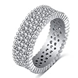 LuckyWeng Vintage Unique Bead Eternity Pave CZ Diamond Thumb Wedding Band Rings White Gold Women Size 7 8 9