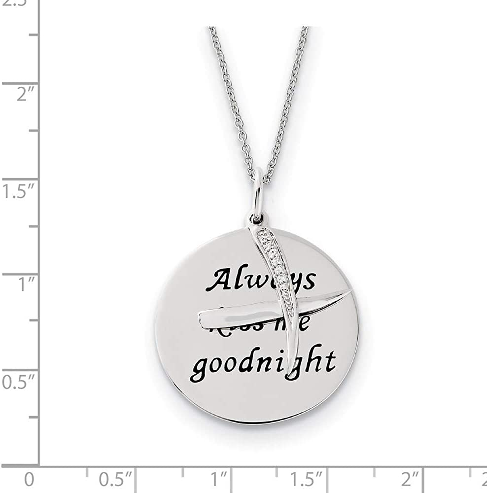 925 Sterling Silver Polished Moveable Gift Boxed Spring Ring Rhodium-plated Antiqued Cubic Zirconia Always Kiss Me Goodnight 18inch Necklace