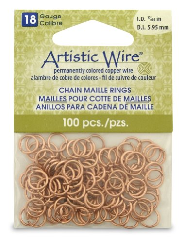 Artistic Wire 18-Gauge Natural Chain Maille Rings, 15/64-...