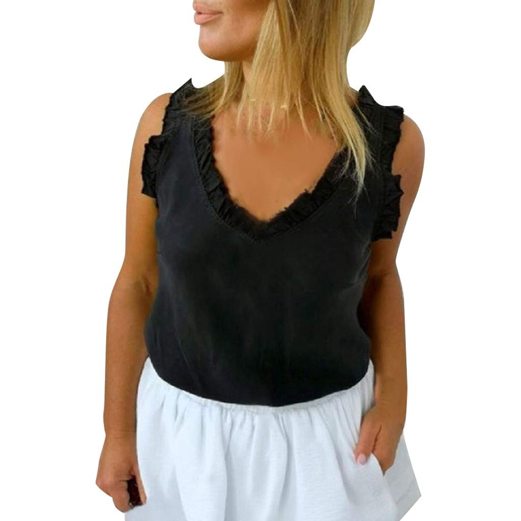 Women's Summer Causal Shirt Solid Sleeveless Lace Up Vest Tops Classic Refined Tunic Straps Chiffon Blouse Size S-XL (S, Black)