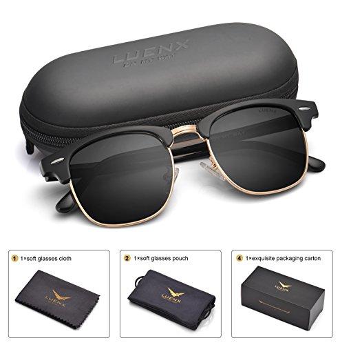 LUENX Men Clubmaster Polarized Sunglasses Women UV 400 Protection Black Lens Black...