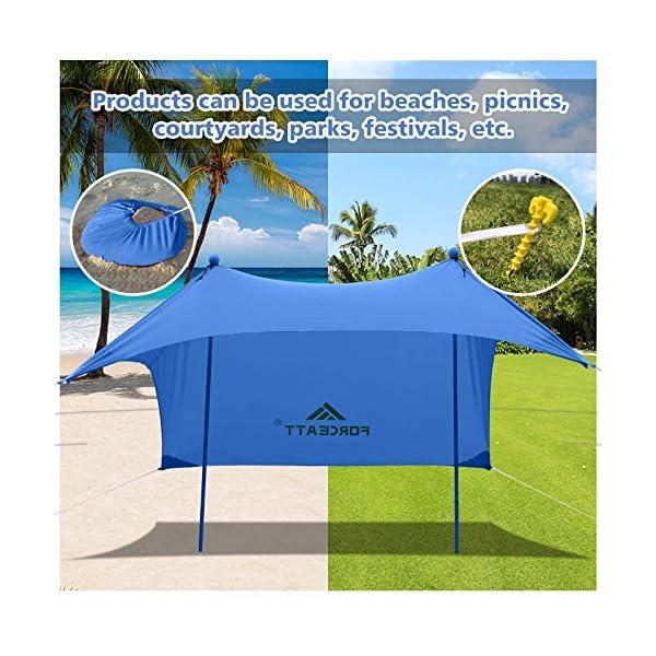 51Gw93GRyLL Forceatt Strandzelt Sonnenschutz, Pop-up Strandzelt mit UPF50+ UV-Schutz und 2 Stücke Aluminiumstangen, Außenschutz für…