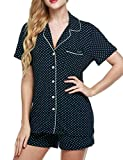 Ekouaer Pajamas Women's Short Sleeve Sleepwear Soft Pj Set XS-XXL