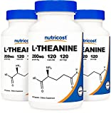 Nutricost L-Theanine 200mg, 120 Capsules (3 Bottles) - Double Strength