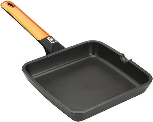 Apto para inducci/ón BRA Efficient Orange Aluminio Fundido con Antiadherente Platinum Plus 22 cm Grill asador Liso