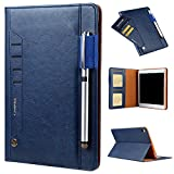 elecfan iPad Pro 10.5 Vintage Business Case,Luxury Soft PU Leather Case with Pencil Holder, Passport Pockets, Card Slots, Folio Stand Case Cover - Blue