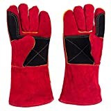 Leather Welding Gloves - Heat/Fire Resistant, Perfect for Gardening/Oven/Grill/Mig/Fireplace/Stove/Pot Holder/Tig Welder/Animal Handling/BBQ - 14inches