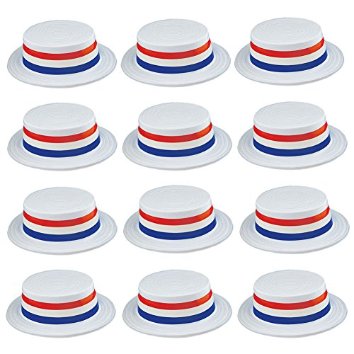 Skimmer Hat - 12 Pack - Boater Hats - Patriotic Accessories - American Flag Party Hats by Funny Party -