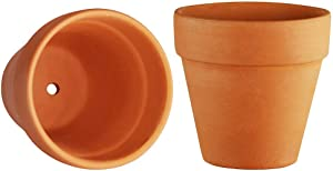 Mr. Garden Clay Planter Pots 4.0-Inch, Indoor/Outdoor Terracotta Pot Clay Ceramic Pottery Planter, Great Crafts for Cactus/Flower/Succulent Plants, ClayColor, 2 Pack