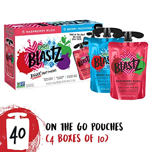 GoGo squeeZ BlastZ Fruit Pouches on the Go, Variety Pack (Raspberry Rush/Berry Madness), 3.88 oz (40 Pouches), Gluten Free, Vegan Friendly, Healthy Snack, Unsweetened, Recloseable, BPA Free Pouches