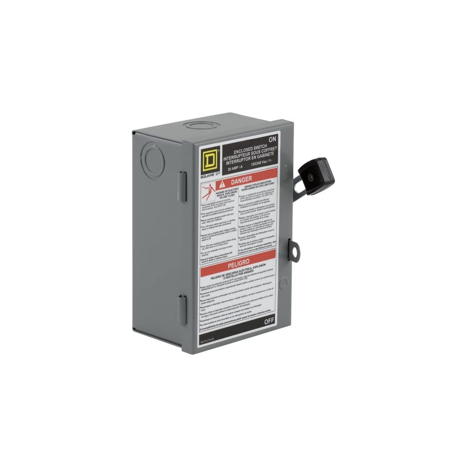 Square D by Schneider Electric L221N 30 Amp 240 volt Two Pole Indoor Light Duty Safety Switch with Neutral