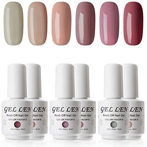 Gellen UV Gel Nail Polish Kit - Popular Nude Colors Collection, Pack of 6 Colors 2017 New Arrivial Set by Gellen